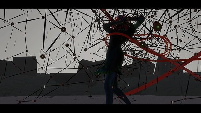 このゲームにおける、「敵」は、謎にまとわりついてくる不思議な物体たち。踊ることで振り払える。